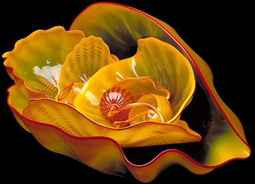 Dale Chihuly: Cadmium Yellow Seaform set with Red Lip Wraps