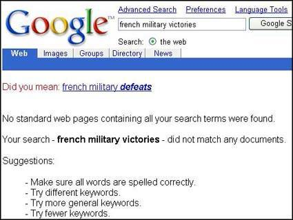A screen capture showing what you find when you go to Google, type in