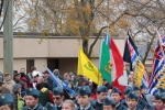 Over the heads of the air cadets, you can see the array of scout flags. Beavers, Cubs, Scouts, Venturers, BC and Canada