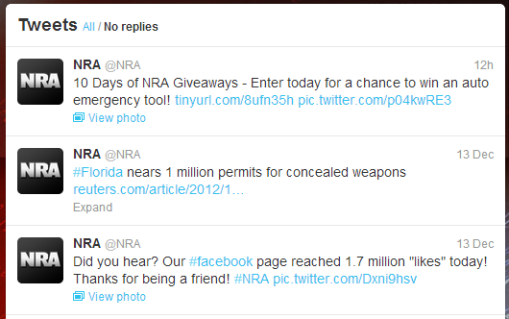 NRA on Twitter, 14th Dec. 2012