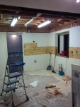 End of day 1: no cabinets, and just the newly exposed sub-floor to get rid of.