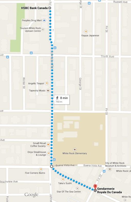 Google Maps: 750 from bank to RCMP station.