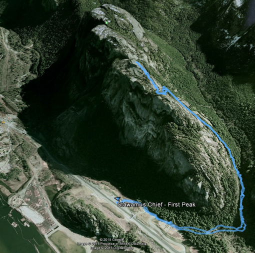 Google Earth: Track to First Peak
