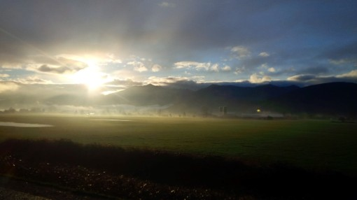 Low cloud over the farms of the Fraser Valley