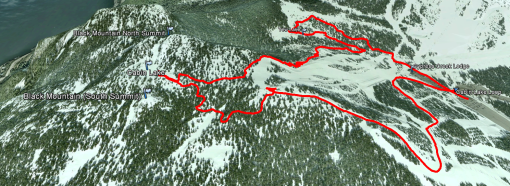 Google Earth: Actual track we took to Cabin Lake