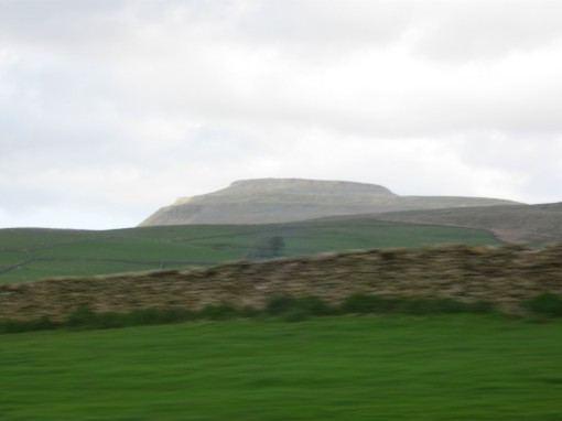 Speeding past Ingleborough on the way to Ingleton