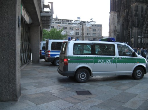 Police vans at the Dom. There was a nearby protest about refugee immigration