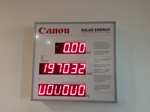 Solar Energy in Canon UK, Reigate