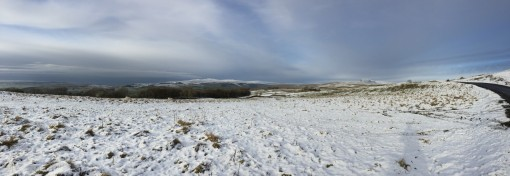 Pano looking North from Langcliffe road. Pen-y-Ghent to the far right in the ditance