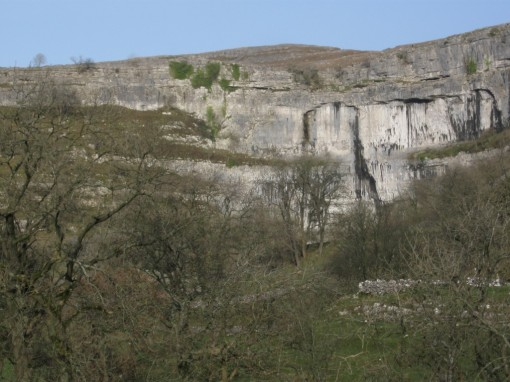 Tom's sooty marks on the face of Malham Cove